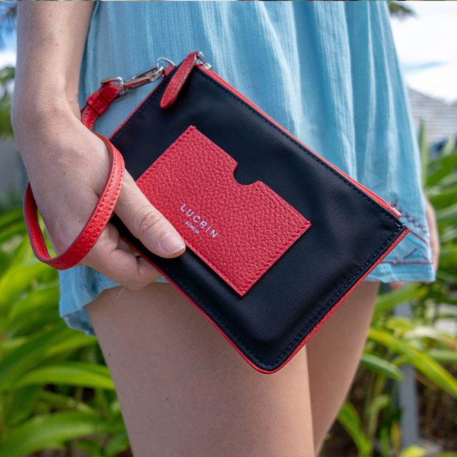 Nylon-Leather Zippered Clutch Bag