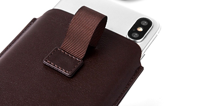 iPhone X case with pull tab - Dark Taupe - Goat Leather